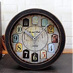 Distressed Imitation Wood Grain Vintage Silent Non-ticking Quartz Travel Alarm Clock Brown