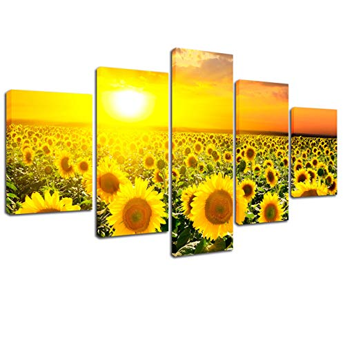 Lingula Art 5 Panels Canvas Painting Sunflowers Wall Art Decor Flowers Poster Sunset Canvas Prints Modular Picture Modern Home Office Living Room Decoration (Sunflower 5 Panel)