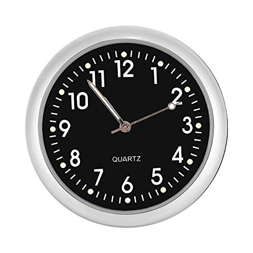 Fdit Car Dashboard Clock Classic Small Round Table Onboard Quartz Clock with Luminated Light Mini Noctilucent Watch Clocks for Auto ()