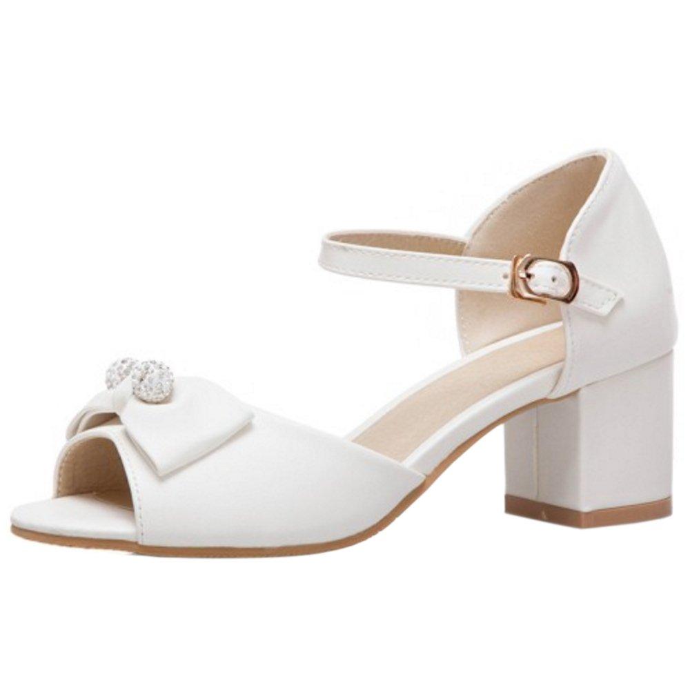 online retailer 6a2b0 f54ec RizaBina Women Block Block Block Heel Sandals B07DQM94PH 2 US   21.5 CM  White e90fb3