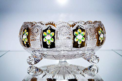 Republic Fruit Bowl (BOHEMIAN CRYSTAL GLASS BOWL-VASE 10''-Width HAND CUT HAND DECORATED GOLD PLATED WEDDING GIFT VINTAGE EUROPEAN DESIGN ELEGANT CENTERPIECE DISH SALADS FRUITS DESSERTS CANDIES CLASSIC CZECH CRYSTAL GLASS)