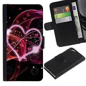 Paccase / Billetera de Cuero Caso del tirón Titular de la tarjeta Carcasa Funda para - Love Pink - Apple Iphone 5 / 5S