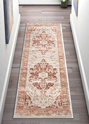 Copper Floral Rug - Well Woven Millie Tribal Copper Medallion 2x7 (2'3'' x 7'3'' Runner) Area Rug Pink Red & Gold Modern Distressed Oriental Carpet