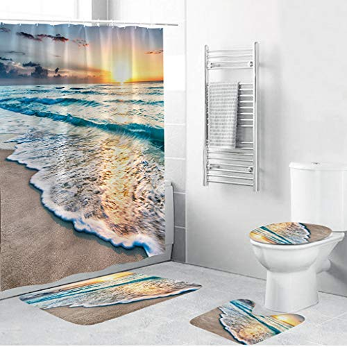 Set of 4 Underwater World Theme Shower Curtain and Bath Mat Set, Dolphins and Tropical Fish Decor Waterproof Non-Slip Bathroom Curtain and Rug Set with Hooks