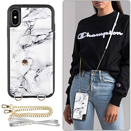 iPhone XS Max Wallet Case Compatible, LAMEEKU iPhone Xs Max Case with Credit Card Holder Slot Leather, Protective Cover with Crossbody Chain Strap Wrist Strap for Apple iPhone XS Max 6.5