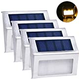 certainPL Solar Lights 3 LED Wireless Waterproof Outdoor Light for Patio, Deck, Yard, Garden with Motion Activated Auto On/Off (4-Pack) (4-Pack, Warm White)