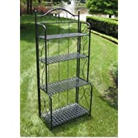 K&A Company Indoor / Outdoor Folding Metal Bakers Rack with 4 Tier Outdoor Indoor Shelves Storage Lattice in Black Iron 25.5W x 10D x 59H inches