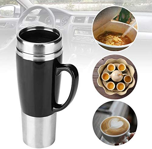 Electric Cup Water Heater,1224V Car Heating Cup Car Heated Mug,300ml Stainless Steel Travel Electric Coffee Cup Insulated Heated Mug Universal For