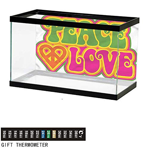 bybyhome Fish Tank Backdrop Groovy,Peace Heart Symbol Sixties,Aquarium Background,36
