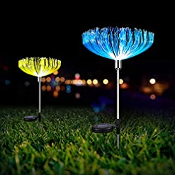 Garden and Outdoor Neporal Multi-Colored Solar Stake Lights Outdoor Decorative IP65 Waterproof Fiber Optic Solar Lighting 2 Pack Solar… outdoor lighting