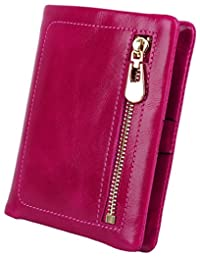 Big Sale-50% OFF-Yaluxe Women's Compact Small Bi-fold Leather Wallet with Coin Pocket ID Window Pink