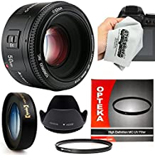 Yongnuo 50mm f/1.8 AF HD Standard Prime Lens with 10x Macro, Hood, UV Filter and Microfiber Cloth for Canon EOS 80D, 70D, 60D, 50D, 7D, 6D, 5D, T6i, T6s, T6, T5i, T5, T4i, T3i, T3 Digital SLR Cameras