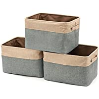 EZOWare Set of 3 Collapsible Large Cube Fabric Linen Canvas Storage Bins Baskets for Shelves Cubby Laundry Playroom…
