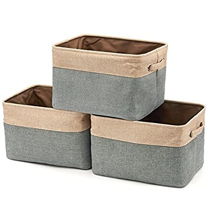Delicieux EZOWare Set Of 3 Collapsible Large Cube Fabric Linen Canvas Storage Bins  Baskets For Shelves Cubby