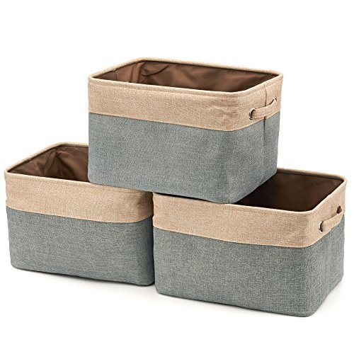 EZOWare Set of 3 Collapsible Large Cube Fabric Linen Canvas Storage Bins Baskets for Shelves Cubby Laundry Playroom Closet Clothes Shoe Baby Toy with Handles (Brown/Gray) (Set Bins Folding Storage)