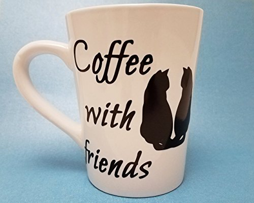 Coffee with Friends Cat Lover Custom Two-Sided Mug CHOOSE Your Color (14oz) (Costumes For 2 Friends)