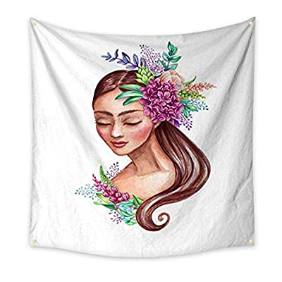 Tapestry Popular Original Wall Hanging watercolor illustration beautiful young woman portrait fairy tale princess long hair decorated with wild flowers clip art isolated on white background Tapestry