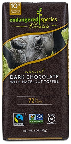Natural Rhino - Endangered Species Black Rhino, Natural Dark Chocolate (72%) with Hazelnut Toffee, 3-Ounce Bars (Pack of 12)