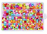 Kid's Discovery DIY Beads Set Plus a Princess Crown, Includes 24 Different Types and Shapes Colorful Acrylic DIY Beads with Accessories. Ideal Summer Vacation Gift for Girls (Style 2#)