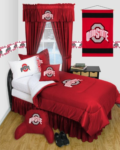Buckeyes Locker Room Comforter (Ohio State Buckeyes QUEEN Size 12 Pc Bedding Set - Locker Room - (Comforter, 2 Pillow Cases, 2 Shams, Bedskirt, Valance/Drape Set & Matching Wall Hanging) - SAVE BIG ON BUNDLING!)