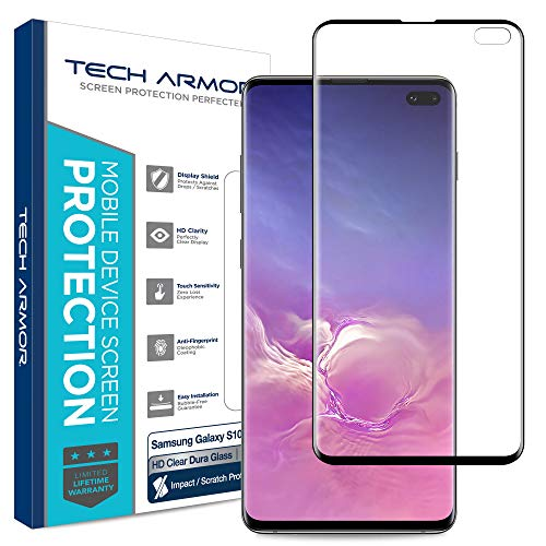 (Tech Armor Dura Glass Screen Protector Designed for Samsung Galaxy S10 Plus - Case-Friendly, Hybrid Glass, Ultra-Thin, Scratch and Impact Protection with Easy Installation Tool - [1-Pack])