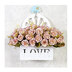 LuckySHD Artificial Fake Flower Bouquet with Hanging Basket for Decoration 111