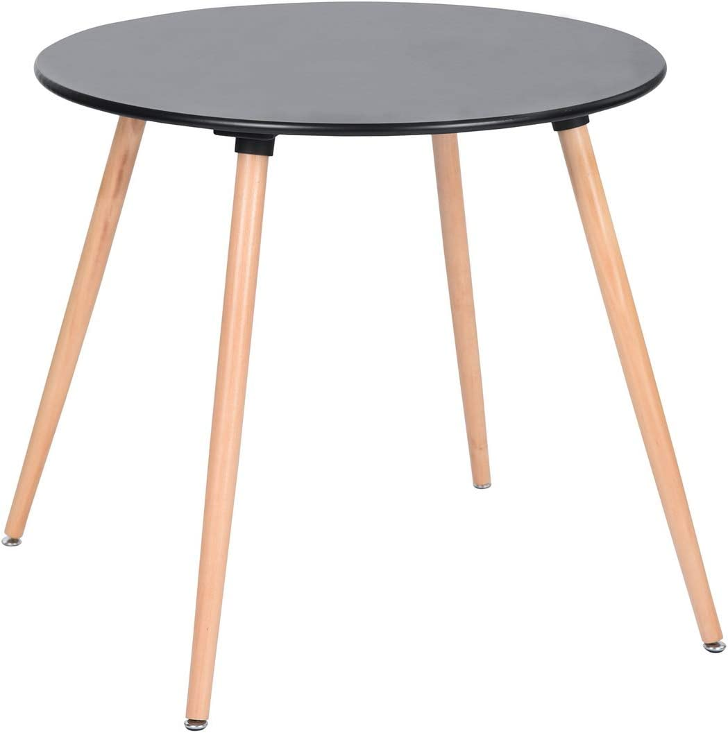 HOMY CASA Dining Table Round Coffee Table Mid Century Modern Kitchen Table Solid Wood Desk Black