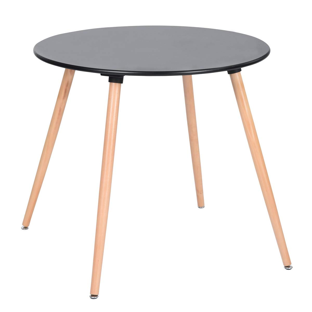 HOMY CASA Dining Table Round Coffee Table Mid Century Modern Kitchen Table Solid Wood Desk Black by HOMY CASA