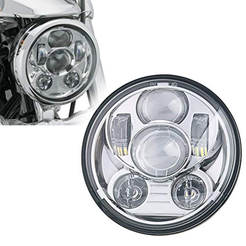 5-3/4 5.75 Inch Projector LED Headlight for Harley Davidson Motorcycles Headlamp 45W Chrome ()