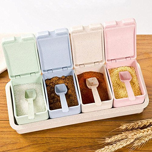 (Whitelotous 4 Grids Plastic Seasoning Rack Spice Pots Wheat Straw Flip Drawer Type Spice Jar Condiment Storage Box with Cover and Spoon)