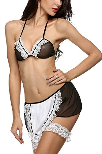 Plus Size French Maid Costume Uk (Davikey Women Lingerie See-through Babydoll Maid Costume Chemises Cosplay Sleepwear Black L)