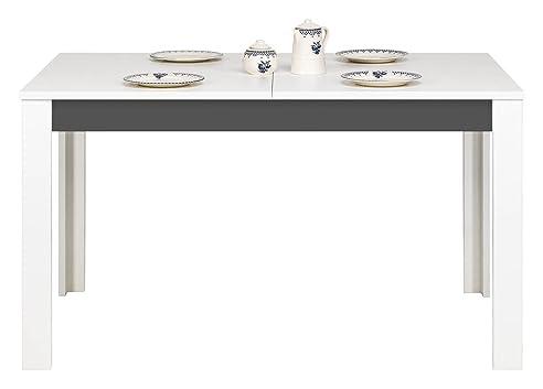 Grau Lang, Breit, Ausziehbarer Tisch In Weiß Matt, Farbe Graphit, Für  Wohnzimmer