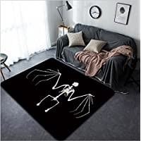 Vanfan Design Home Decorative 128682965 keleton of a fruit bat often called flying fox against a black background Modern Non-Slip Doormats Carpet for Living Dining Room Bedroom Hallway Office Easy Cl