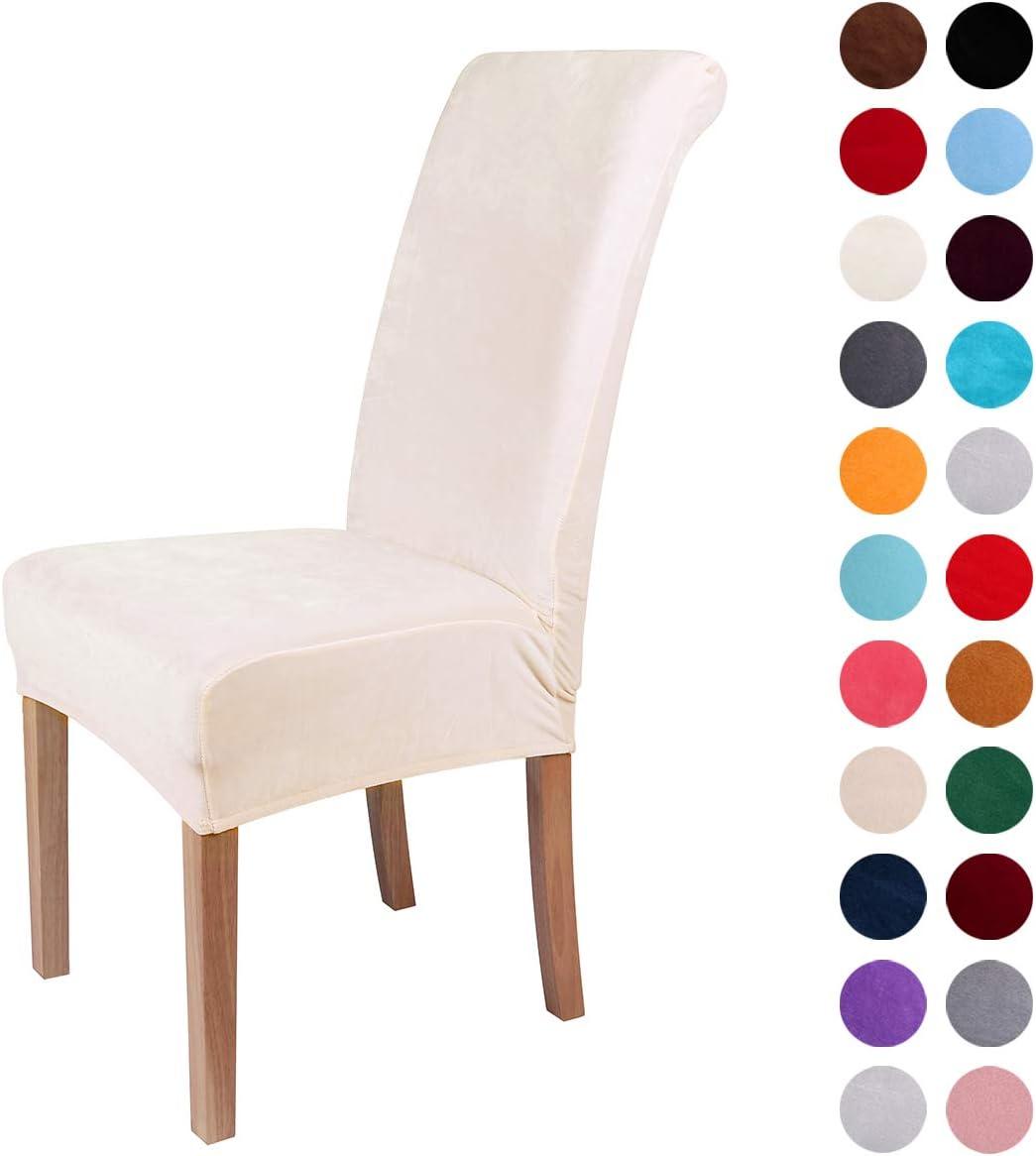 Colorxy Velvet Spandex Fabric Stretch Dining Room Chair Slipcovers Home Decor Set of 4, Cornsilk