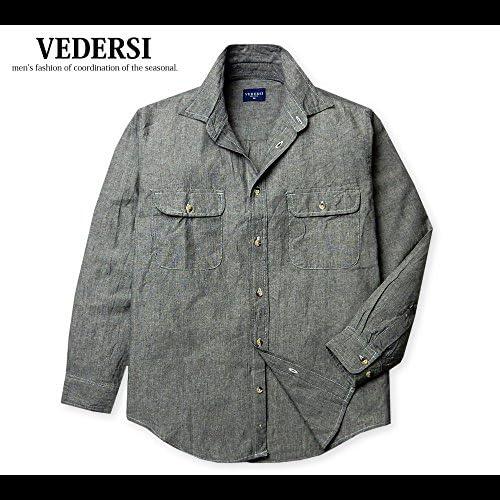 メンズ シャツ 長袖 綿100% ダンガリー 無地 胸ポケット 紳士