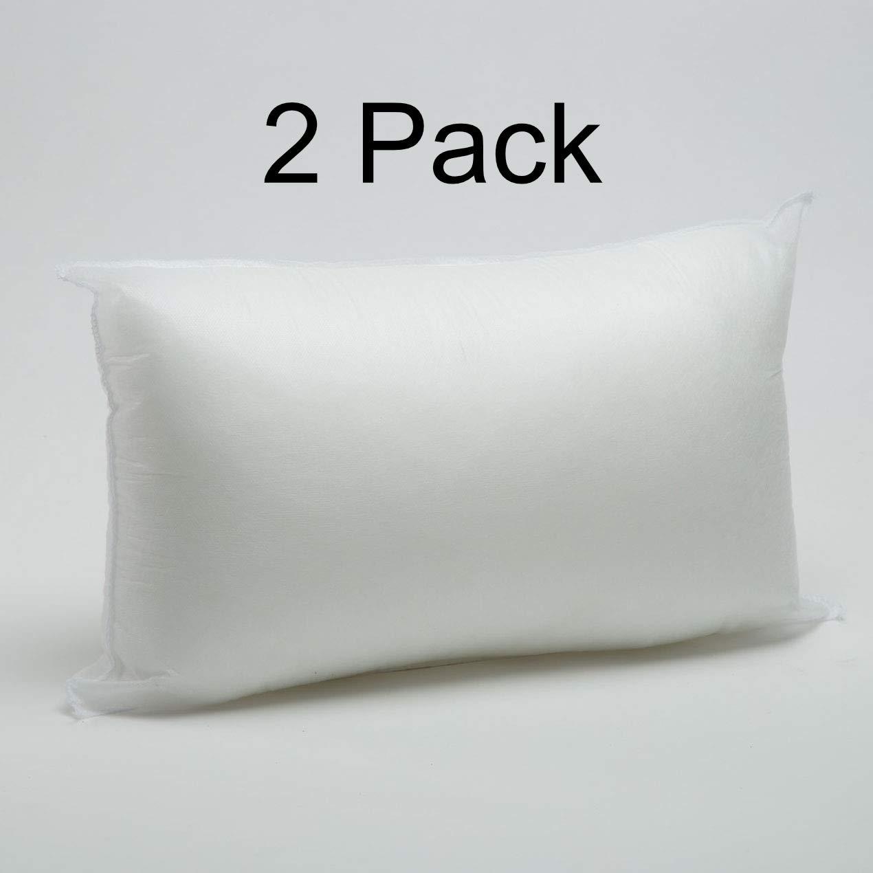 Foamily 2 Pack - 12'' x 20'' Premium Hypoallergenic Lumbar Stuffer Pillow Insert Sham Square Form Polyester, Standard/White by Foamily
