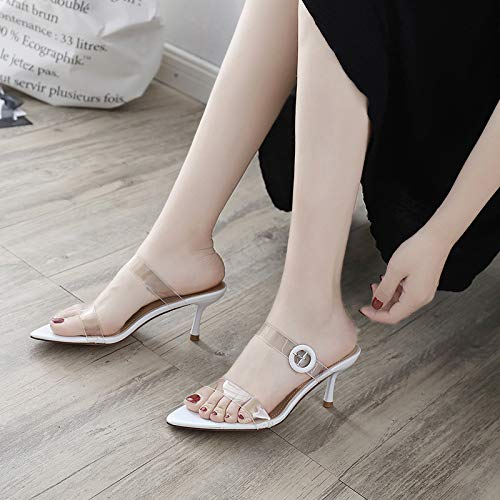 Heels Heels Pointed Summer High Towing gules Cold Sharp Toes And Night Transparent KPHY Slippers Buckles 8Cm qExOUSUR