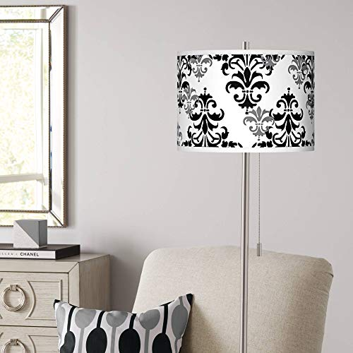 Damask Shadow Brushed Nickel Pull Chain Floor Lamp - Giclee Glow