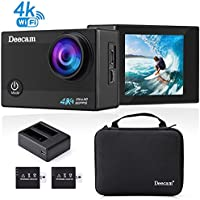 Deecam 4K Action Camera 16MP HD Wifi Waterproof Sports DV Camcorder with 170° Ultra Wide-Angle Lens and 2 inch LCD Screen, 2 Pcs Rechargeable Batteries and Portable Package Included