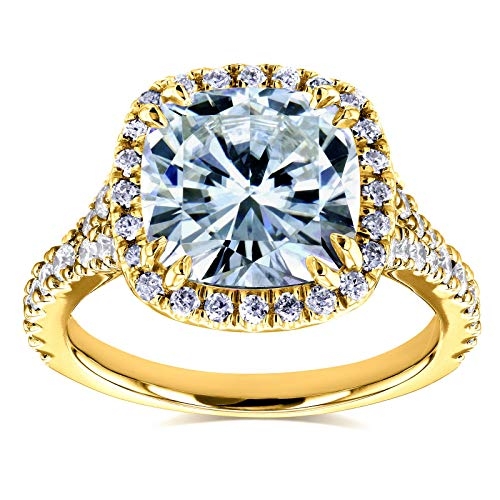 (Cushion Moissanite Halo Cathedral Ring 3 1/3 CTW in 14k Yellow Gold, Size 10.5, Yellow Gold)