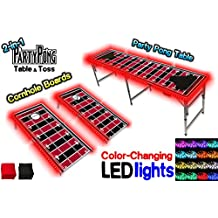 2-in-1 Cornhole Boards & Beer Pong Table w/ Color-Changing LED Glow Lights - Atlanta Football Field