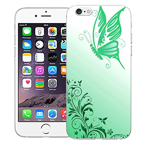 "Mobile Case Mate iPhone 6S Plus 5.5"" Silicone Coque couverture case cover Pare-chocs + STYLET - Flighted Butterfly pattern (SILICON)"