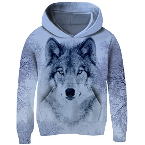 Funnycokid Teens Boys Fleece Hoodie 3D Printed Wolf Long Sleeve Sweatshirt Crewneck Teenagers Hooded Jumpers