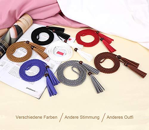 WERFORU Frauen dünne Quaste geflochtene Taille Gürtel, dünne gewebte Gürtel Taille Band für Rock Kleid
