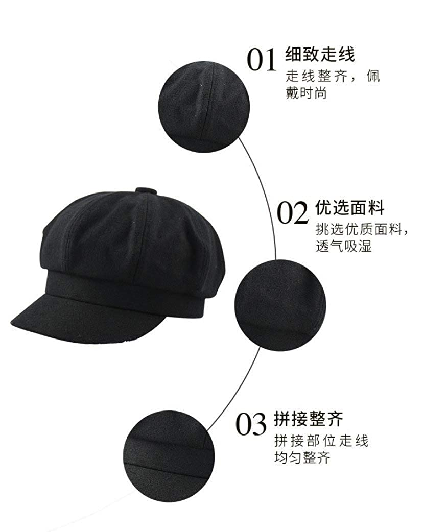 Nat Terry Girls Octagon Cap Women Autumn Winter Simple Style Fasion Street Wool Painter Hats Plus Size Newsboy Caps