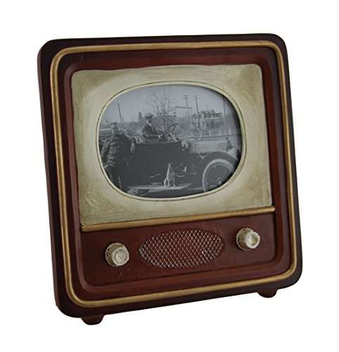 Zeckos Brown Vintage Finish Retro Television Tabletop Picture Frame (Tv Retro Picture Frame)
