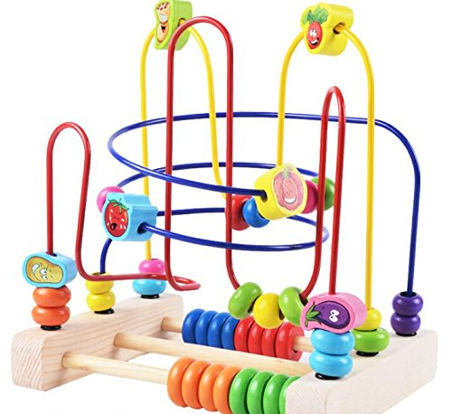Zhahender Kids Interesting Toy Wooden Colorful Abacus Circle Toy Educationnal Bead Maze Creative Gifts for Kids(Vegetable Three)