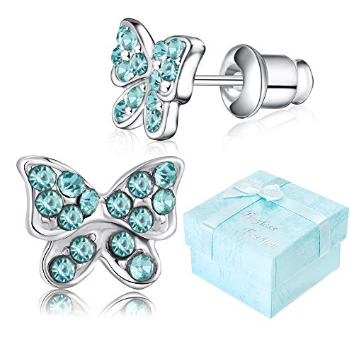 Buyless Fashion Girls Butterfly Stud Earrings Silver Surgical Stainless Steel - E100BTAQU