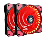 120mm PC Case Cooling Fan,CONISY Gaming 120 mm Super Silent Computer LED Cooler High Airflow Fans for Desktops - Red (2 Pack)