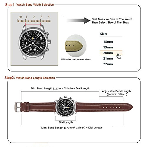 Quick Release Leather Watch Band 22mm Brown Replacement Watch Strap Genuine Polished Watch Clasp Buckle Gold Rose Padded Super Soft (18mm 20mm 22mm) by TStrap (Image #2)